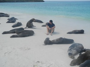Making friends with wildlife on the shores of The Galapagos islands