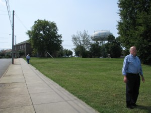 Bob Braxton in the vacant lot where the Patterson Avenue house once stood, just down the street from Crisis Control.