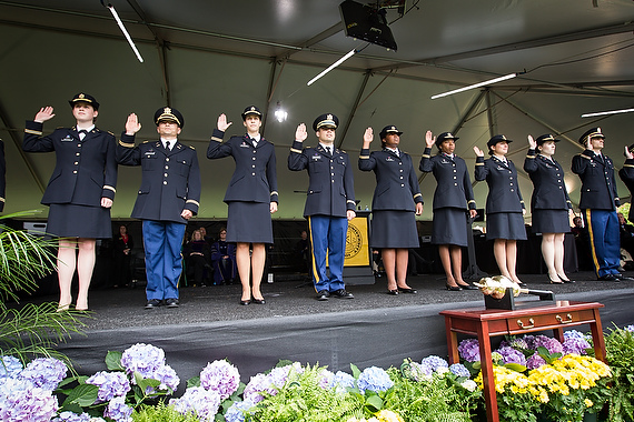 ROTC graduates take the officers' oath at the Commissioning Ceremony during Commencement 2013