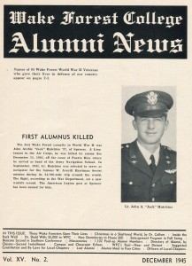 Eighty-five alumni were killed in World War II, including Jack Hutchins ('37), the first alumnus killed in the war. The Alumni News listed the name, hometown and date and place of death of every alumnus killed.