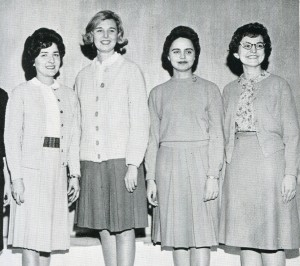 From 1963, Kay Overman Ferrell (second from left) and Sue Fulkerson O'Connor (far right)