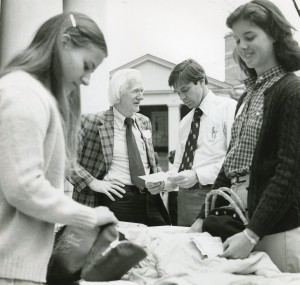 Ed Christman with students on the Quad in 1980.