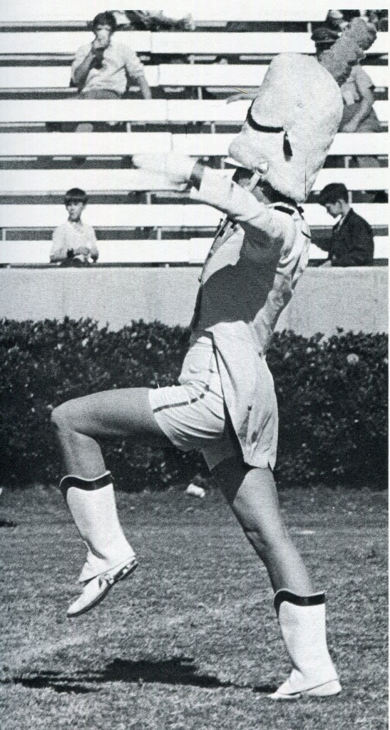 Drum major Pam Key leads the marching band in 1970.