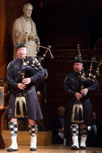 Bagpipers marched onto the stage to set the formal tone for the induction ceremony. (Photo by Martha Stewart)