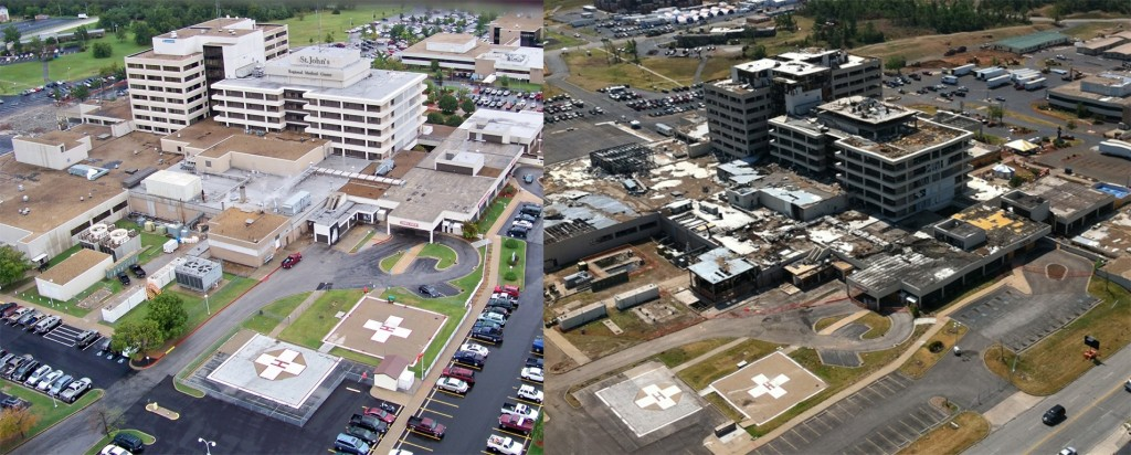 St. John's Regional Medical Center today (left) and right after the May 22, 2011 tornado.