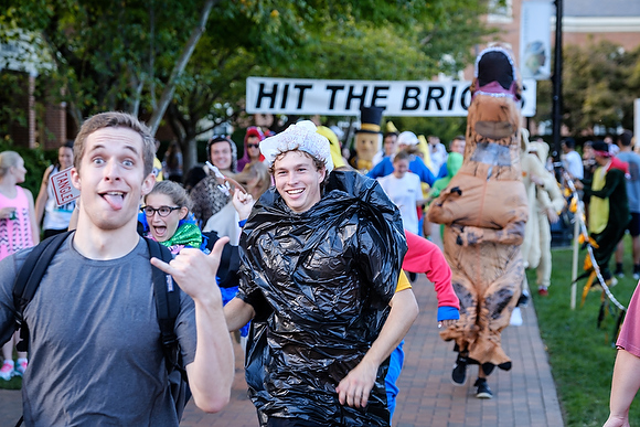 Members of the Wake Forest community run laps around Hearn Plaza in the annual Hit the Bricks for Brian endurance race on Thursday, October 6, 2016, raising money for the Brian Piccolo Cancer Fund. More than 1400 students, faculty, and staff competed during the eight hour race.