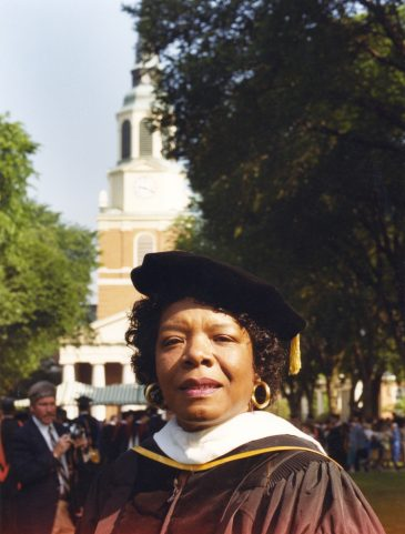 """Maya Angelou (LHD '77) told graduates to make the constants in their lives """"death, taxes, courage and love."""""""