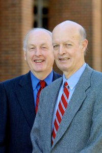 Retiring political science professors Dr. Richard D. Sears, right, and Dr. Jack D. Fleer