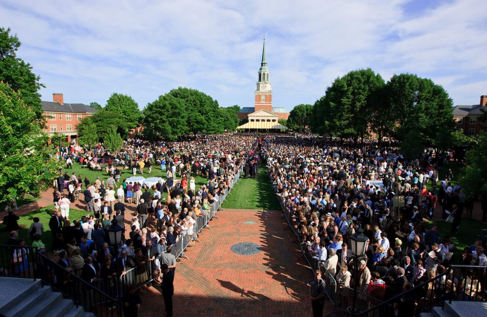 A view of Hearn Plaza waiting for the processional.