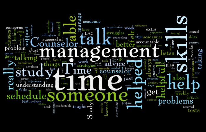 Word cloud created from student responses to our evaluation of services.