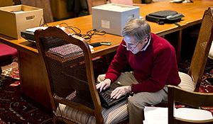 Sam Gladding in the library