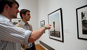 Students examine art at the Reynolda House Museum of American Art