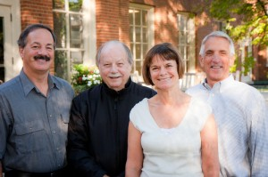 Biology professors Robert Browne, Gerald Esch, Carole Browne and Ron Dimock are among the faculty celebrating anniversaries this month.