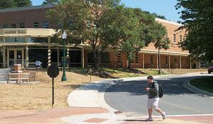 Street between Alumni Hall and Worrell