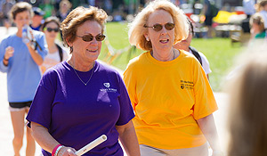 Staffers Carol Benford and Anita Hughes hit the bricks.