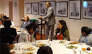 Harold Holmes speaks at Cook Elementary