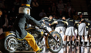 Wake Forest Demon Deacon on his motorcycle