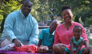 Malika Roman Isler with her family.