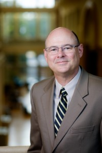 Tim Pyatt, Dean of the Z. Smith Reynolds Library at Wake Forest University, poses for a portrait in the library atrium on Thursday, August 27, 2015.