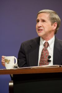 Wake Forest University hosts the conference, College of the Overwhelmed, part of the Voices of Our Time series, in Brendle Recital Hall on Monday, April 7, 2008. Samuel T. Gladding, chair and professor in the Department of Counseling at Wake Forest, moderates the discussion forum.