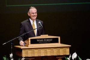 Wake Forest President Nathan O. Hatch gives his annual State of the University address in Brendle Recital Hall on Tuesday, October 6, 2015.