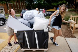 Wake Forest hosts move-in day for first year students at the south campus residence halls on Friday, August 21, 2015. Julia Reed ('19), from Tampa, moves into Bostwick.