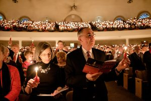 Wake Forest University hosts its 51st annual Moravian Lovefeast holiday celebration in Wait Chapel on Sunday, December 6, 2015. President Nathan O. Hatch and his wife, Julie, attend the service.