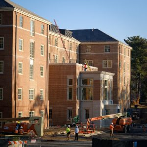 Construction continues on the new residence hall on the south campus of Wake Forest University on Wednesday, November 16, 2016.